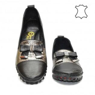 Дамски мокасини цвят графит и черно 560TA17