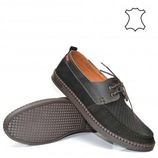 Мъжки обувки - спортни с шевове от черна матова кожа
