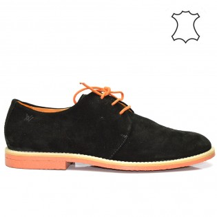 Мъжки - черни спортно-елегантни обувки - естествена кожа M700BN