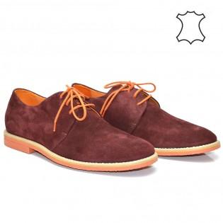 Мъжки - спортно-елегантни обувки цвят бордо - естествена кожа M700BNr