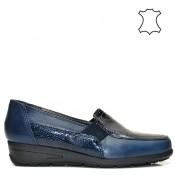 Тъмно-сини ортопедични дамски обувки естествена кожа 02bg16.