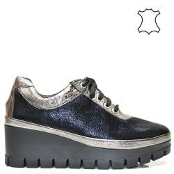 Тъмно-сини, платина спортно-елегантни дамски обувки 1795A16