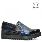 Сини дамски спортно елегантни обувки естествена кожа в метален цвят 489ТА16s