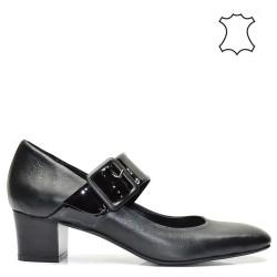 Елегантни ниски луксозни дамски обувки в черен цвят - 504TK16