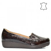 Кафяви ортопедични дамски обувки естествена кожа  534A16.