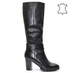 Ежедневни, дамски ботуши естествена кожа в черно - 5920E16