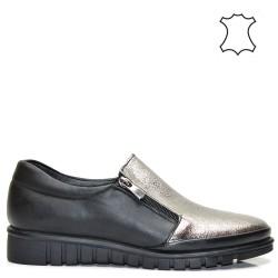 Дамски спортно-елегантни обувки естествена кожа в метален цвят - 620ТА16
