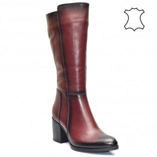 Бордо - дамски изчистени ботуши естествена кожа 713t416r