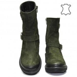 Зелени топли дамски боти 613t417z