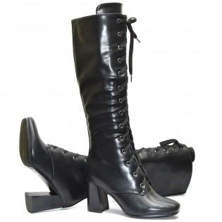 Елегантни черни дамски ботуши - 6597ke17
