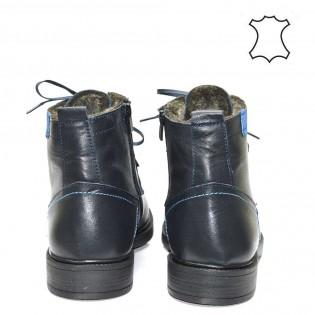 Стилни мъжки боти с естествен агнешки хастар на силиконово ходило - естествена кожа в син цвят