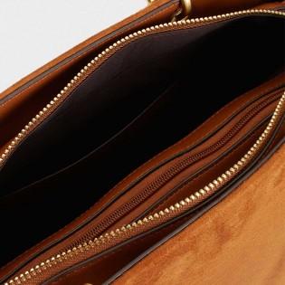Дамска чанта в кафяв цвят с бамбукови дръжки на PARFOIS - 172950