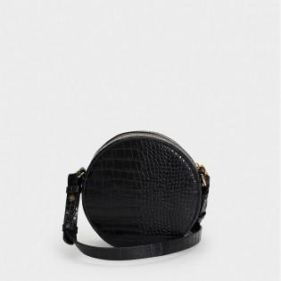 Дамска чанта в черен цвят със змийски принт на PARFOIS - 173596