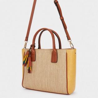 Дамска чанта с плетено покритие от рафия на PARFOIS - 175051