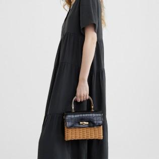 Дамска плетена чанта на PARFOIS с кроко принт - 175184