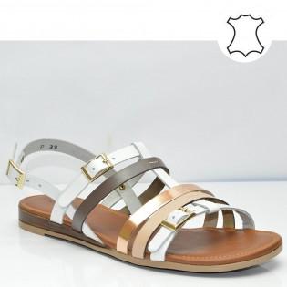 Ниски, равни, бели дамски сандали от естествена кожа 32A17