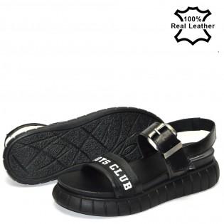 Ортопедични, спортни дамски сандали естествена кожа в черно 66734