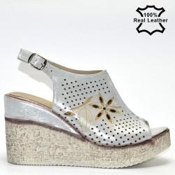 Високи платформи, дамски сандали естествена кожа F06271