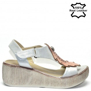Дамски сандали платформа комбинация естествена кожа F06272