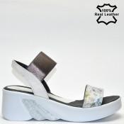 Дамски сандали платформа ефектна естествена кожа F06273