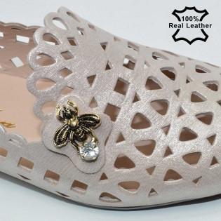 Ниски перфорирани обувки-пантофи естествена кожа розов сатен F1000P