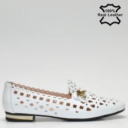 Ниски перфорирани обувки-пантофи естествена кожа бял цвят F1000w