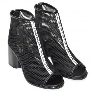 Дамски летни боти черен цвят F1037