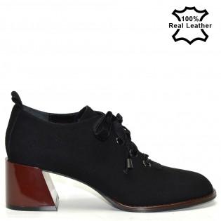 Елегантни луксозни дамски обувки в черен цвят - набук / F1103