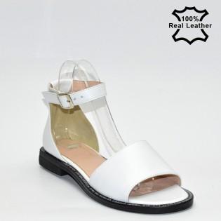 Бели дамски сандали естествена кожа - F114W