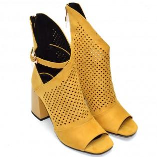 Елегантни жълти летни боти велур с висок ток и перфорация - F1191Y
