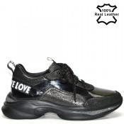 Дамски маратонки спортни обувки, естествена кожа - F1803