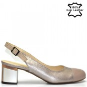 Ниски, елегантни, бежови, дамски сандали естествена кожа F20230b