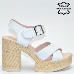 Платформа, бели, високи дамски сандали естествена кожа F2041w