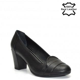 Ежедневни черни обувки естествена кожа на ток - F2296