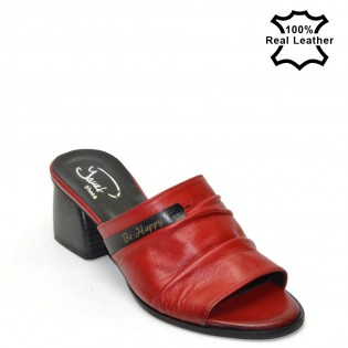 Ежедневни дамски чехли-ток червен цвят F2980R