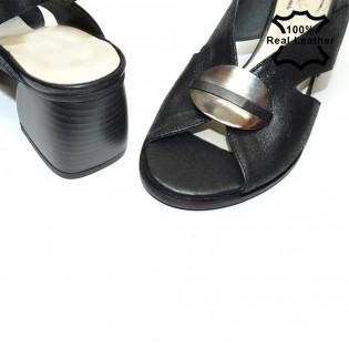 Ниски, елегантни, черни, дамски сандали естествена кожа F29812