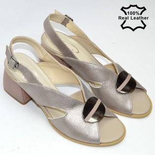 Ниски, елегантни, бежови, дамски сандали естествена кожа F29812b