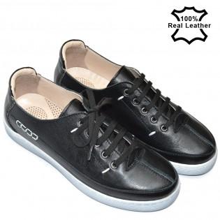 Спортни обувки естествена кожа в черен цвят F402