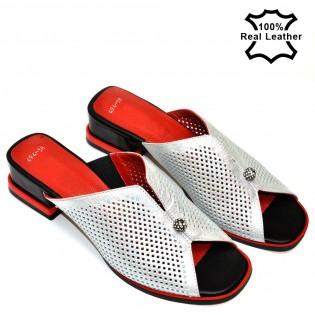 Ниски, елегантни, бели дамски чехли естествена кожа F494