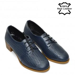 Перфорирани сини ежедневни дамски обувки F496N