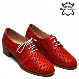 Перфорирани червени ежедневни дамски обувки F496R