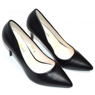 Шикозни дамски обувки в черно на висок ток - F500
