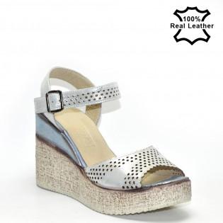 Платформа, високи дамски сандали естествена кожа F510