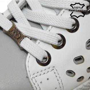 Дамски бели спортни кецове естествена кожа F6045W