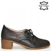 Ежедневни кожени обувки - естествена кожа - черен графит F825