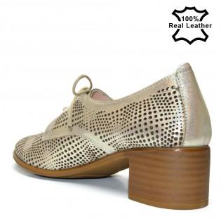 Ежедневни бежови кожени обувки с перфорация F825b