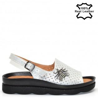 Ортопедични дамски сандали естествена кожа-бял сатен L0626