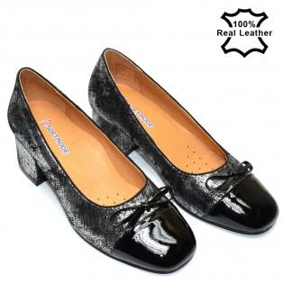 Елегантни дамски обувки на ток естествена кожа L1502