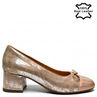 Елегантни бежово-розови дамски обувки на ток естествена кожа L1502P