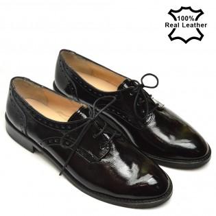 Естествена кожа лачени спортно-елегантни обувки L1615